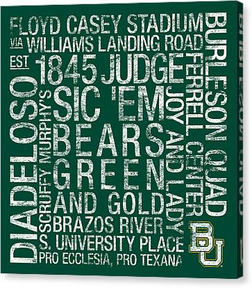 Baylor College Colors Subway Art Canvas Print