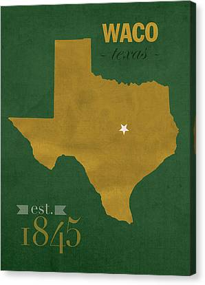 Baylor University Bears Waco Texas College Town State Map Poster Series No 018 Canvas Print by Design Turnpike