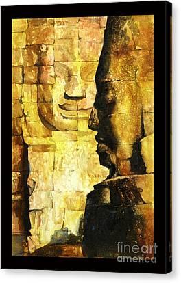 Bayon Khmer Temple At Angkor Wat Cambodia Canvas Print by Ryan Fox