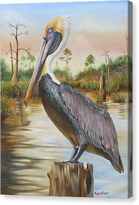 Bayou Coco Point Pelican Canvas Print by Phyllis Beiser
