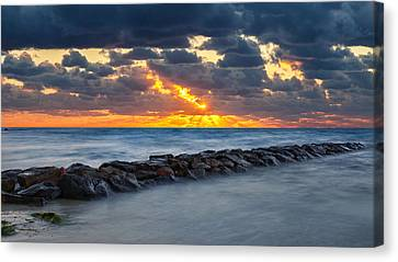 Bayside Sunset Canvas Print by Bill Wakeley