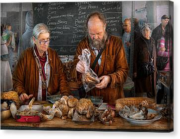 Bazaar - We Sell Fresh Mushrooms Canvas Print by Mike Savad