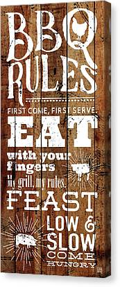 Word Art Canvas Print - Bbq Rules by Aubree Perrenoud