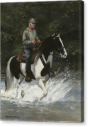 Trail Ride Canvas Print - Big Creek Man On Spotted Horse by Don  Langeneckert