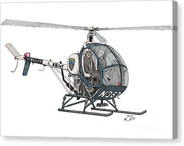 Bcpd Helicopter Canvas Print by Calvert Koerber