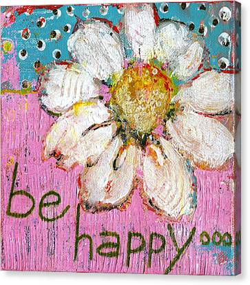 Be Happy Daisy Flower Painting Canvas Print