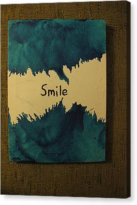 Canvas Print featuring the painting Be Happy In A Stormy Sea by Lawrence Christopher