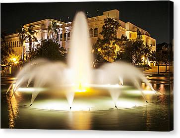 Bea Evenson Fountain At Night Canvas Print by Lee Kirchhevel