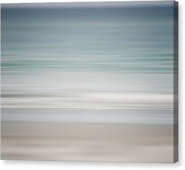Beach Abstract In Shades Of Pale Blue And Grey Canvas Print by Lisa Russo