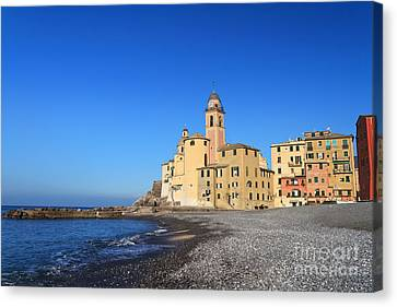 Canvas Print featuring the photograph beach and church in Camogli by Antonio Scarpi