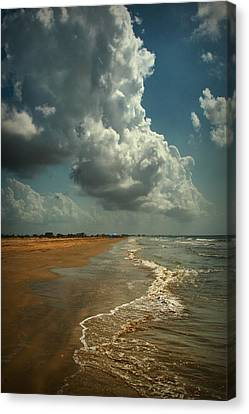 Beach And Clouds Canvas Print by Linda Unger