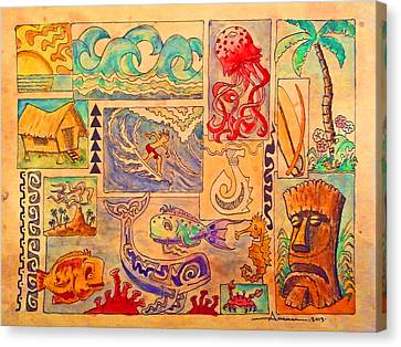 Tiki Canvas Print - Beach And Surf Collage by Aaron Bodtcher