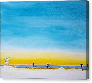 Surfers On The Beach Canvas Print by Ben Gertsberg