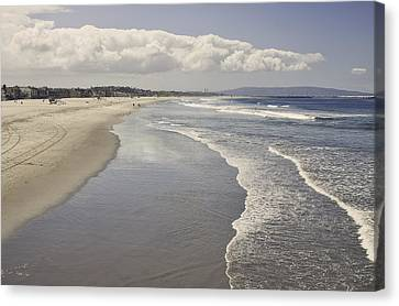 Beach At Santa Monica Canvas Print by Kim Hojnacki