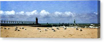 Beach At South Haven  Canvas Print by Michelle Calkins