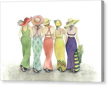 Beach Babes In Coverups And Hats Ready For A Day In The Sun Canvas Print