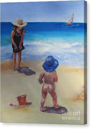Beach Baby With Blue Hat Canvas Print by Marge Casey