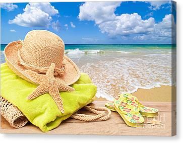 Beach Bag With Sun Hat Canvas Print by Amanda Elwell