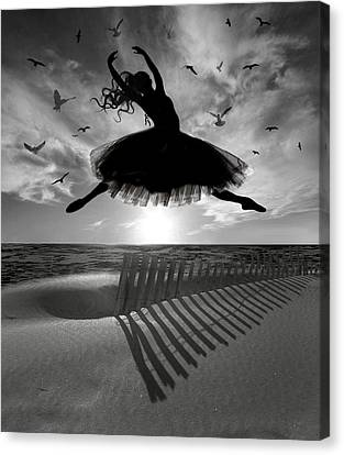 Canvas Print featuring the digital art Beach Ballerina by Nina Bradica