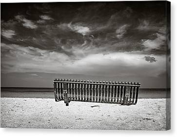 Beach Bench Canvas Print by Dave Bowman