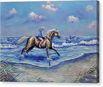 Beach Blonde Running Mates Canvas Print by Gail Butler