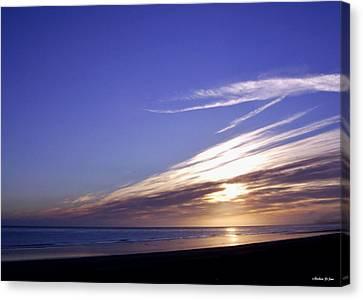 Beach Blue Sunset Canvas Print by Barbara St Jean