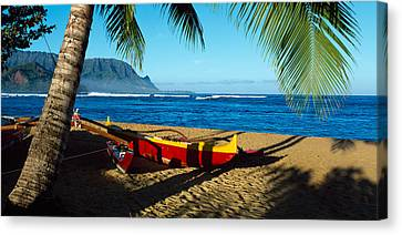 Beach Boat Hanalei Bay Kauai Hi Usa Canvas Print by Panoramic Images