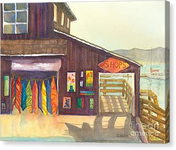 Canvas Print featuring the painting Beach Boutique by Sandy Linden
