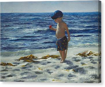 Canvas Print featuring the painting Beach Boy by Jeanette French
