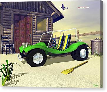 Canvas Print featuring the digital art Beach Buggy by John Pangia