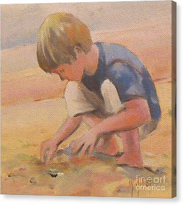 Beach Bum Boy In The Sand Canvas Print by Mary Hubley
