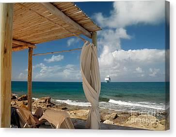 Cruise Ship Canvas Print - Beach Cabana  by Amy Cicconi