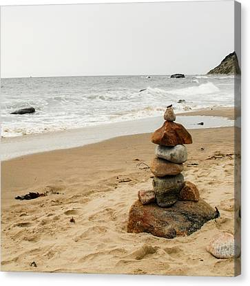 Canvas Print featuring the photograph Beach Cairn  by Dawn Romine