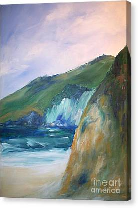 Canvas Print featuring the painting Beach California by Eric  Schiabor