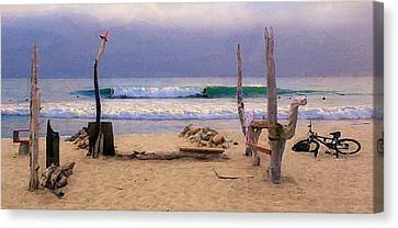Beach Camp At Trestles Canvas Print by Ron Regalado