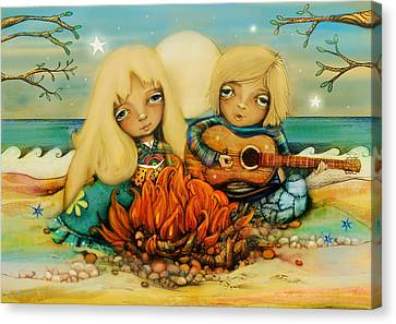 Engagement Canvas Print - Beach Campfire by Karin Taylor