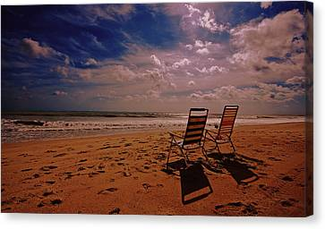 Canvas Print featuring the photograph Beach Chairs by John Harding
