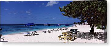 Beach Chairs On The Beach, Shoal Bay Canvas Print by Panoramic Images