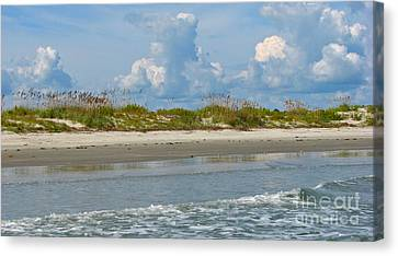 Canvas Print featuring the photograph Beach Clouds by Val Miller