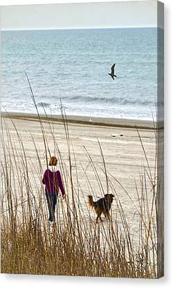 Beach Companions Canvas Print by Sandi OReilly