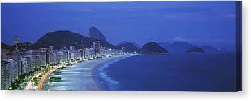 Beach, Copacabana, Rio De Janeiro Canvas Print by Panoramic Images