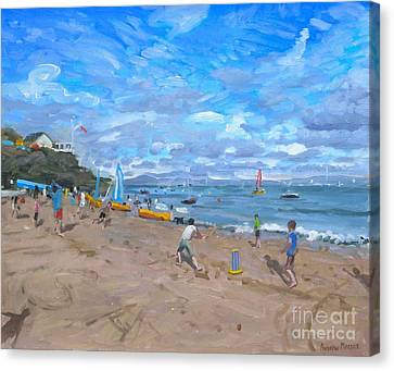 Beach Cricket Canvas Print by Andrew Macara
