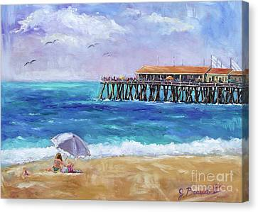 Canvas Print featuring the painting Beach Day by Jennifer Beaudet