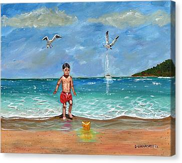 Canvas Print featuring the painting Beach Day by Laura Forde