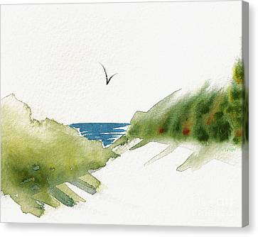 Canvas Print featuring the painting Beach Dunes And Bird by Nan Wright