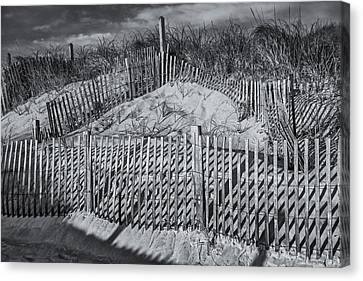 Beach Fence Bw Canvas Print by Susan Candelario