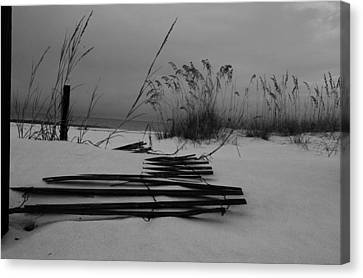 Beach Fence Canvas Print by Maria Suhr