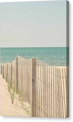 Beach Fence Ocean Shabby Photograph Canvas Print by Elle Moss