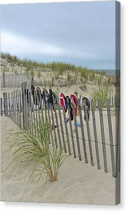 Beach Fence Shoes Seaside Nj Canvas Print by Terry DeLuco