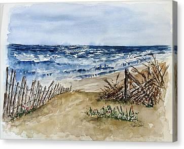 Beach Fence Canvas Print by Stephanie Sodel